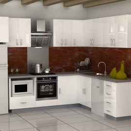 Aluminium Kitchens Silver Frame with Designed HPL 9SPECI